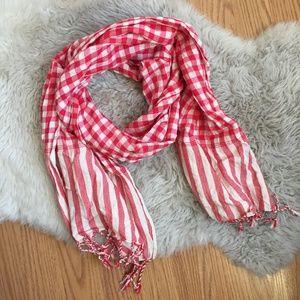 Madewell Red & White Gingham Stripe Print Scarf